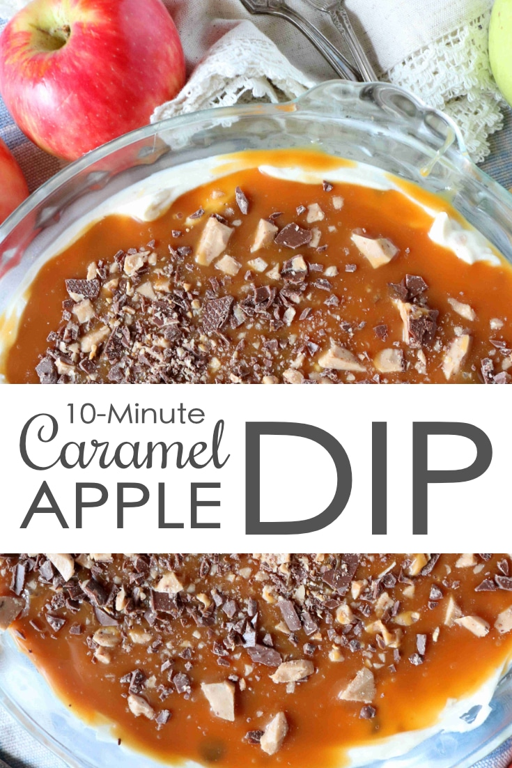 With its almost cheesecake-like base, a layer of gooey caramel, and those crunchy little chocolate toffee bits, not only is this sweet party dip a perfect combination of flavors and textures, it looks positively beautiful accompanied by a colorful array of sliced apples. This 10-minute caramel apple dip is the perfect addition to any party. Please, enjoy! #appledip #creamcheesedip #sweetpartydip #sweetappetizerrecipes #caramelappledip #partyfood #sweetdiprecipe