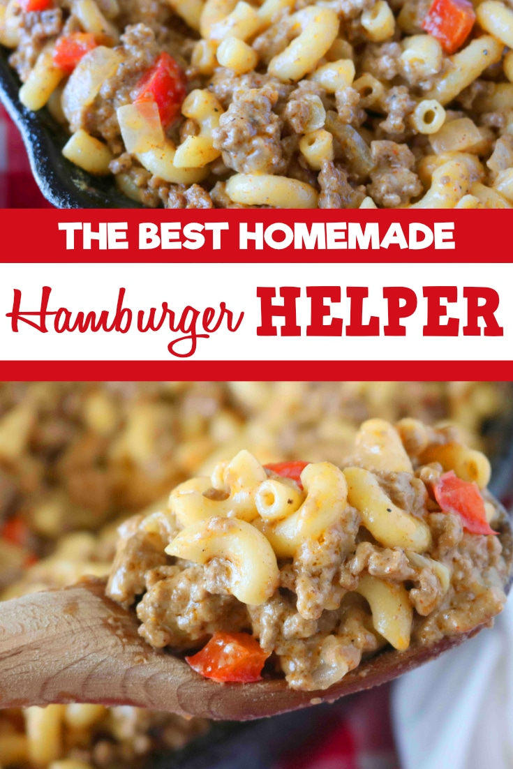 An easy weeknight recipe for Homemade Hamburger Helper featuring savory, seasoned ground beef, an easy Cheddar sauce, diced onions and peppers. #hamburgerhelper #groundbeefrecipe #homemadehamburgerhelper #dinnerideas #easydinnerideas #kidfriendlydinner #comfortfood #theanthonykitchen