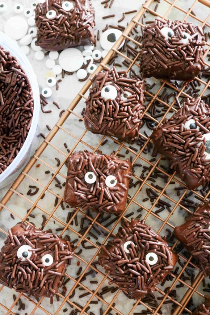 An overhead shot of halloween brownies covered in chocolate and chocolate sprinkles with candy eyes. The decorated brownies are resting on a wire cooling rack.