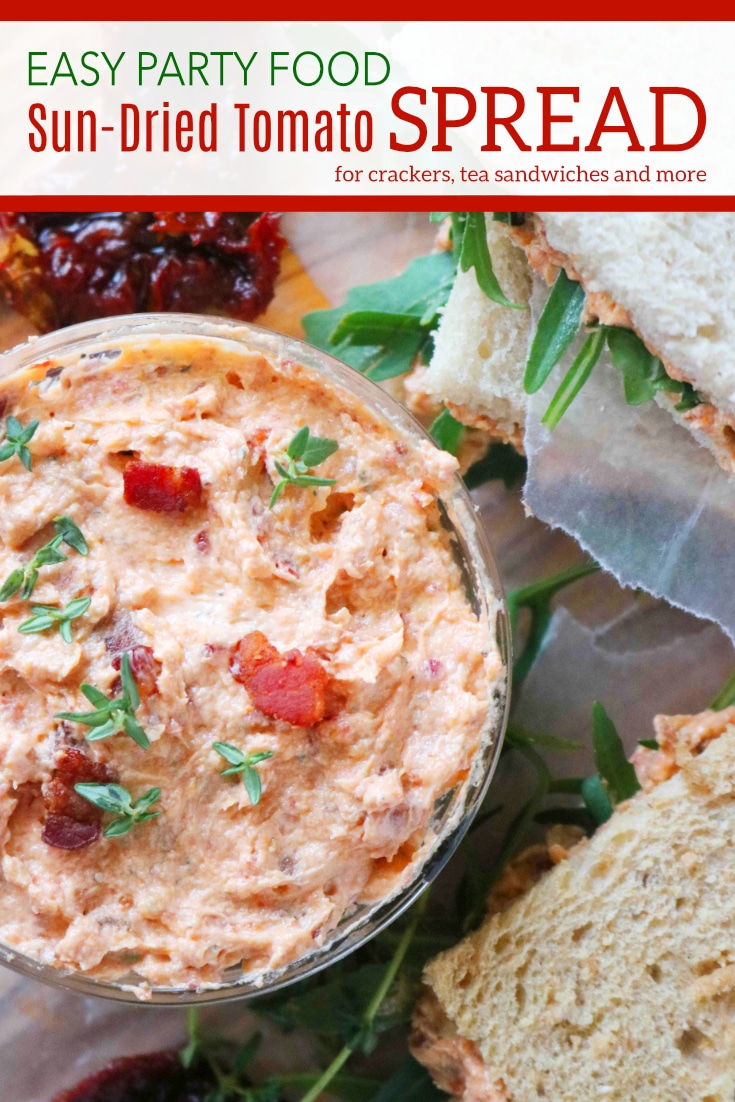 An easysun-driedtomato spread that comes together quickly in a food processor, featuringsun-driedtomatoes, bacon, and fresh thyme. #partydip #sundriedtomatospread #partyspreads #theanthonykitchen #teasandwiches #partyfood #babyshowerfood #creamcheesespreads