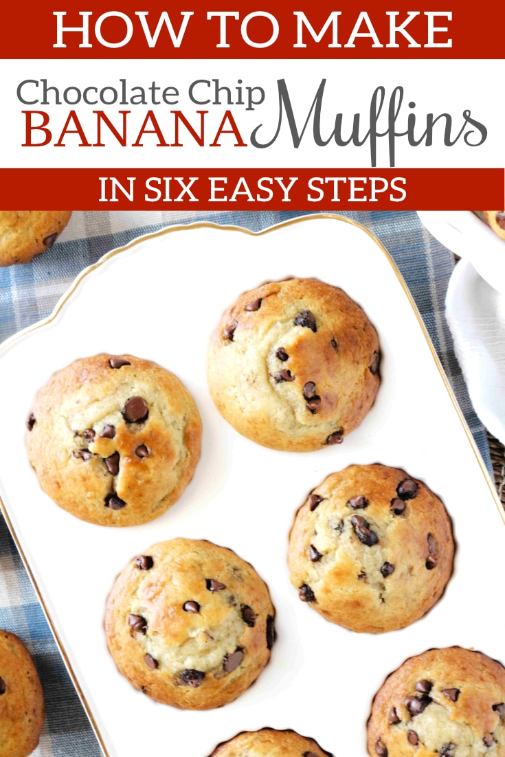 Banana and Chocolate Chip Muffins are easy to make, flavorful, and perfectly tender! The batter comes together quickly and they always bake up golden on the outside and moist, chocolate banana heaven on the inside. #muffinrecipes #muffins #bananamuffins #bananachocolatechipmuffins #chocolatechipmuffins #breakfastrecipes #brunchrecipes #breakfast #brunch #baking #bananarecipes