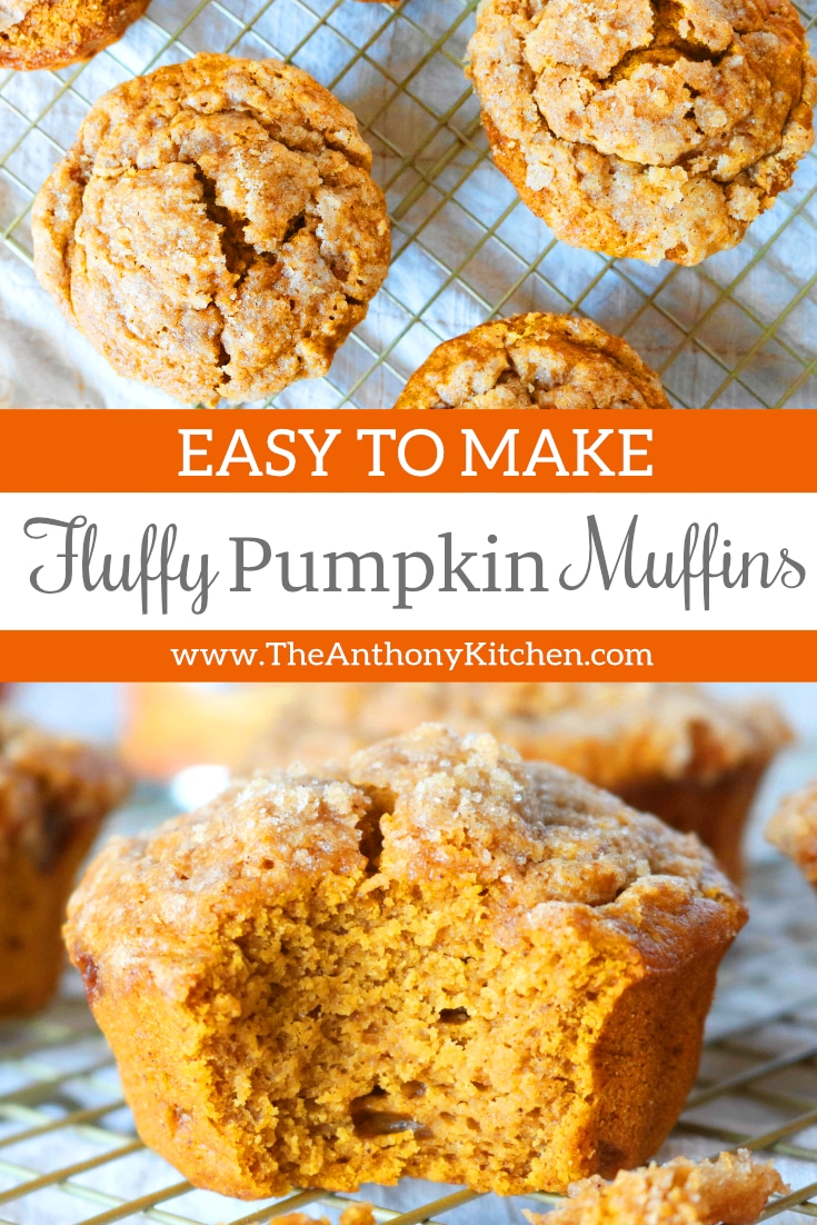 A fall baking recipe for quick and easy pumpkin muffins that bake up perfectly fluffy and full of pumpkin spice flavor. Canned pumpkin and buttermilk make for a moist and tender crumb! #pumpkin #pumpkinmuffins #pumkinrecipes #fallrecipes #fallbaking #breakfastrecipe #muffins #muffinrecipes #brunchideas