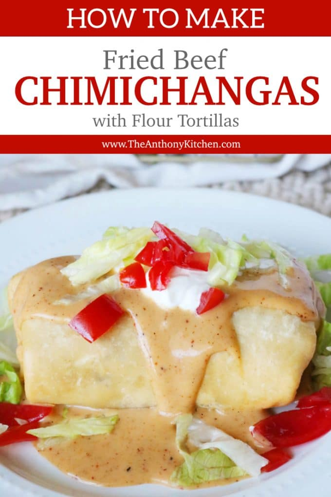 Fried Beef Chimichangas with Flour Tortillas