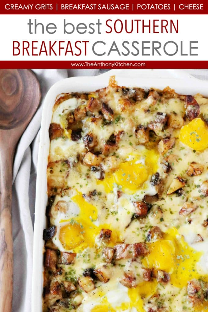 Make-Ahead Breakfast Casserole for a Crowd with Creamy Grits, Sausage, Cheese, and Eggs