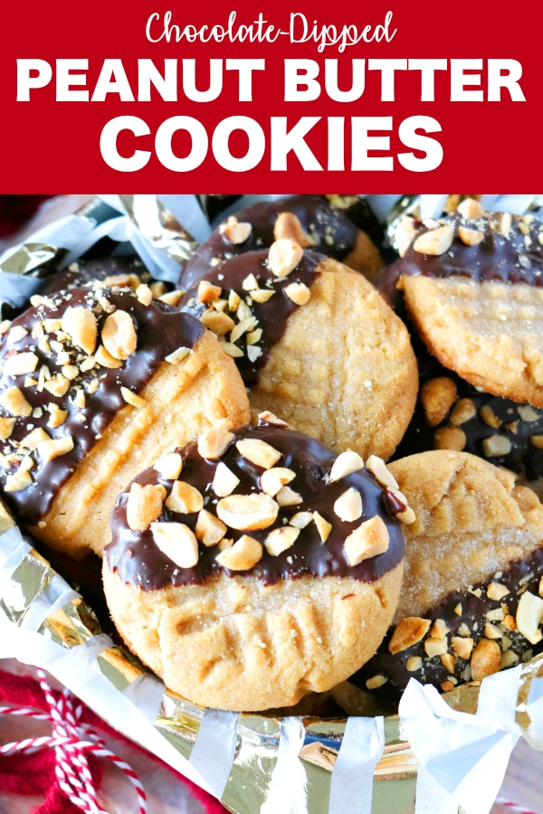 Pinterest image of Easy Peanut Butter Cookies with Chocolate