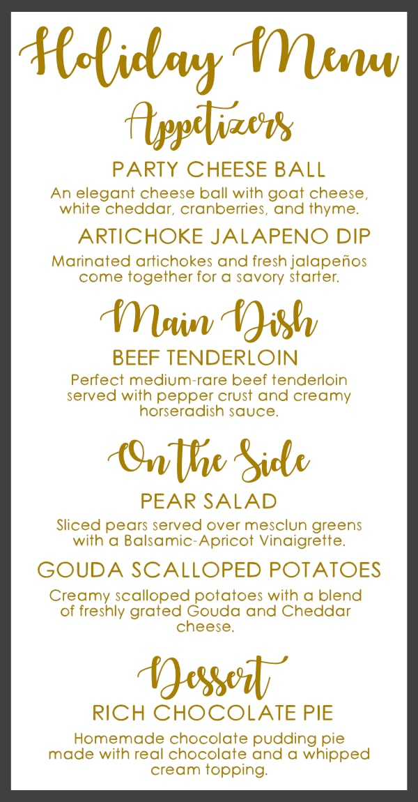 Holiday Dinner Menu Idea