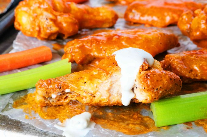 Blue Cheese Dip for Buffalo Wing Sauce on Crispy Baked Wings