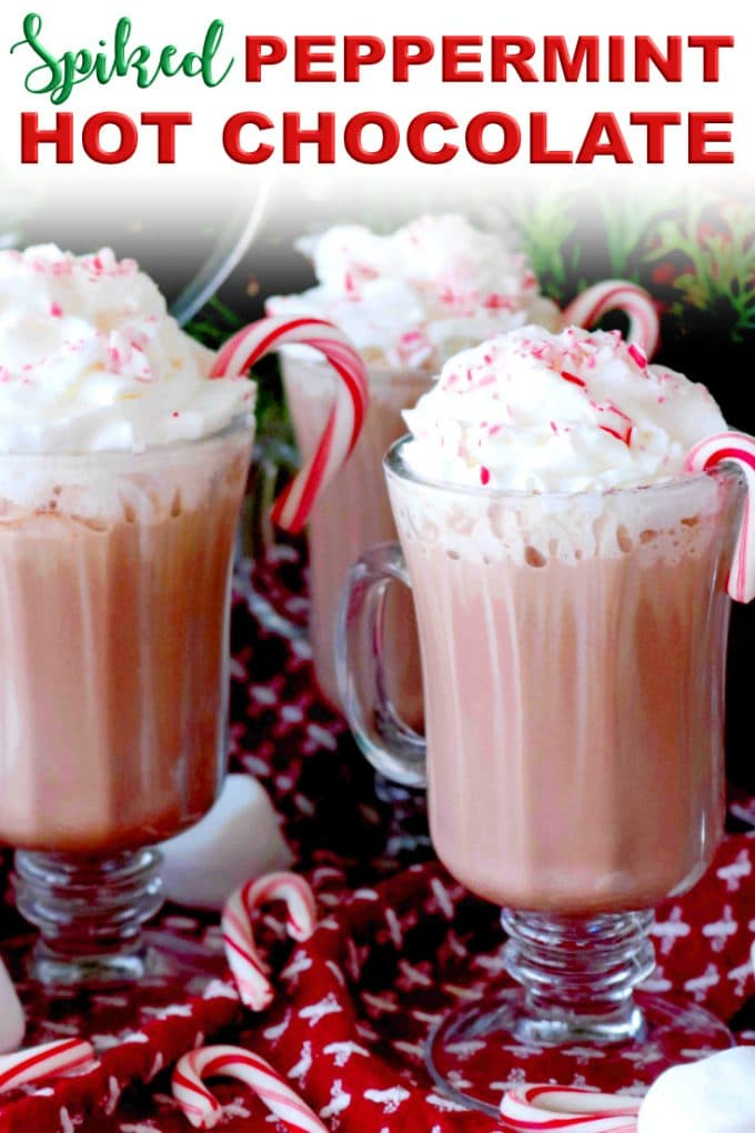 Pinterest image for Spiked Peppermint Hot Chocolate