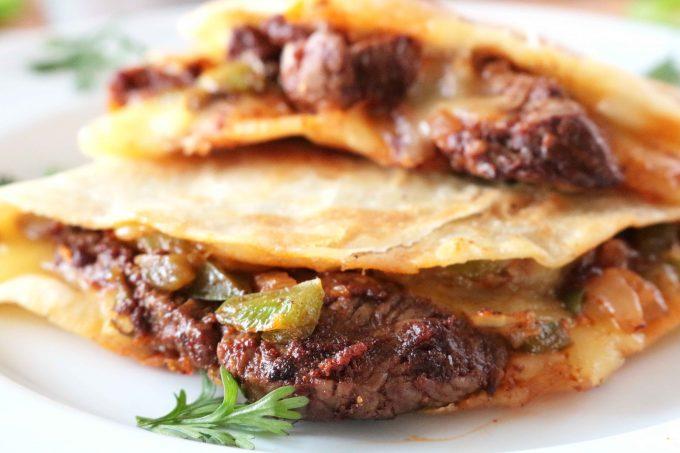 A side view of Steak Quesadillas.