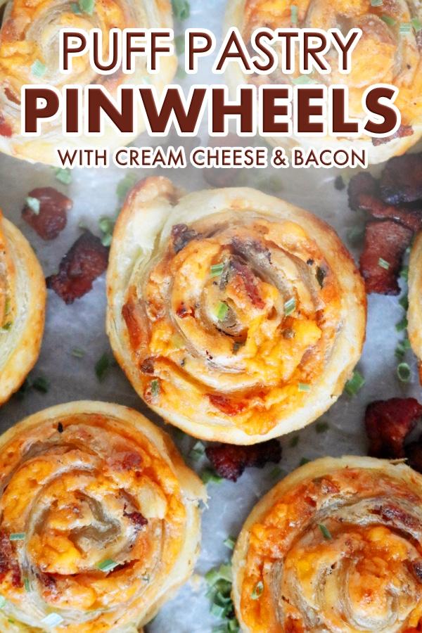 Pinterest Image of Puff Pastry Pinwheels