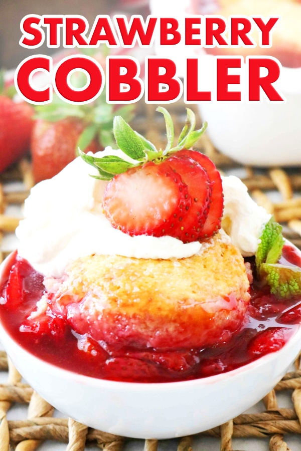 Pinterest Image for Strawberry Cobbler