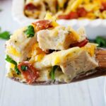 A spoonful of Chicken Bacon Ranch Casserole.