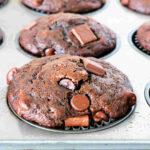 Chocolate Banana Muffins in a muffin tin.