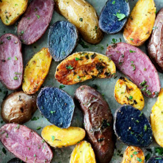Fingerling potatoes roasted and sprinkled with parsley.