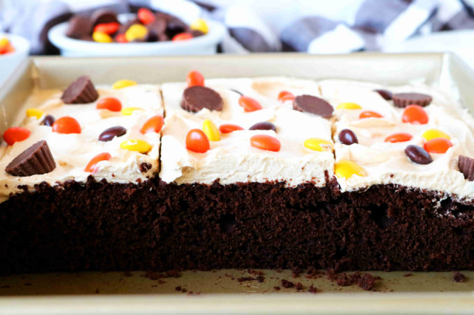 Three pieces of chocolate cake in a sheet pan with frosting and candy on top.