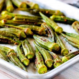 Roasted Okra on a sheet pan.