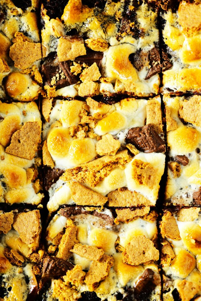 An overhead shot of smores brownies in a pan.