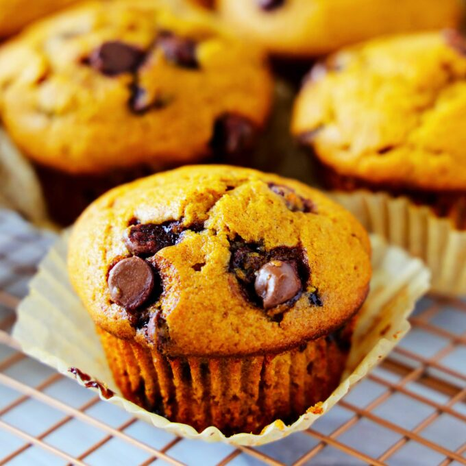 A close up shot of Pumpkin Chocolate Chip Muffins with the muffin liner peeled back on a cooling rack.