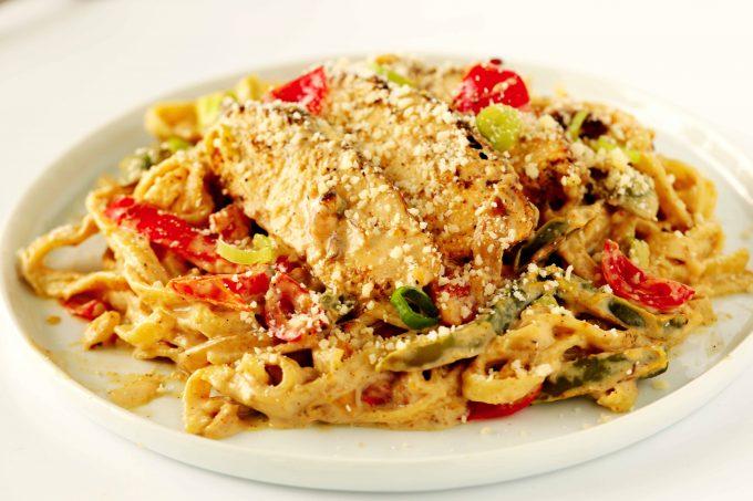 Cajun Chicken Alfredo Pasta on a plate.