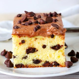 A slice of chocolate chip cake on a white plate with chocolate chips surrounding it.